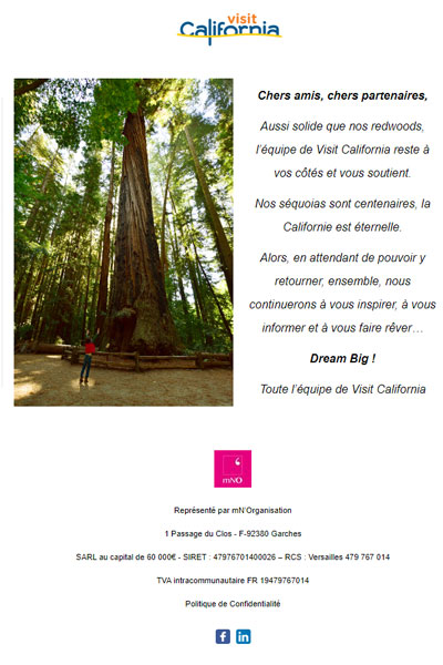 Message from Visit California to all our friends and partners