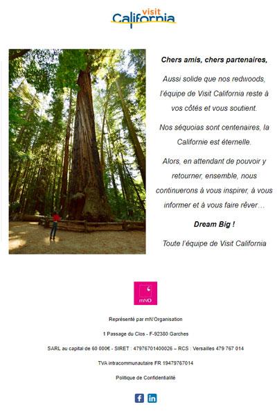 Message de Visit California à tous nos amis et partenaires