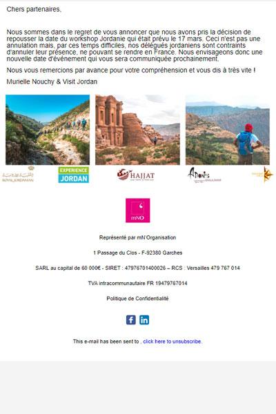 Nouvelle date du Workshop Jordanie   Annulation de la soirée du 17 mars
