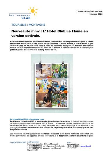 12 - MAR21 - Nouveauté mmv : L' Hôtel Club Le Flaine en version estivale.