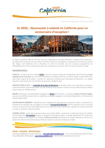 18 Visit California Nov 19 New Products 2020