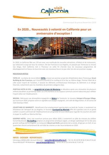 18   Visit California   Nov 19   Nouveautés 2020