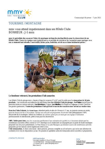 17 - JUIN 2021 MMV Réouveture des Hôtels Clubs