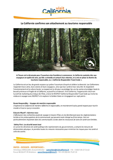 22 Visit Califrnia Oct 21 California confirms its commitment to responsible tourism