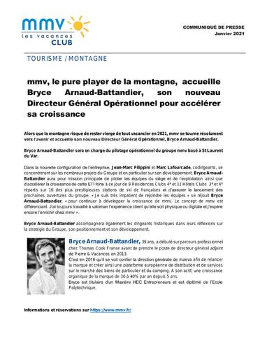 10 - JAN21 Mmv accueille son nouveau DGO  Bryce Arnaud Battandier  Janvier 2021