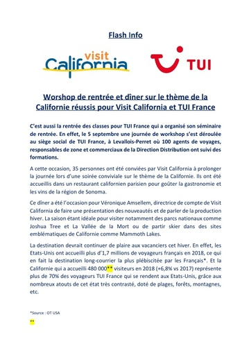 14 Visit California Sept 19 Back to school Worshop and TUI France dinner