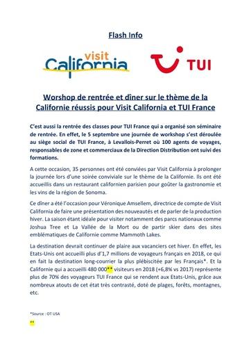 14   Visit California   Sept 19   Worshop de rentrée et dîner TUI France