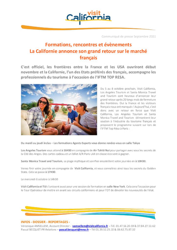 21 Visit California Sep 21 California announces its return to the French market